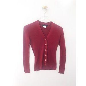 weekend max mara / red ribbed cardigan sweater